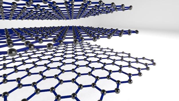 La structure de forme de la nanotechnologie, la nanotechnologie du futur, le rendu 3d