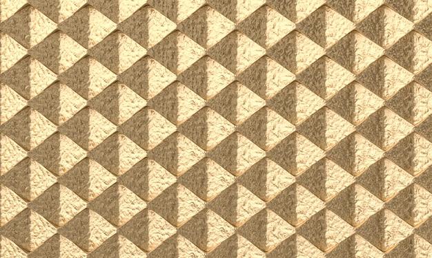 Structure métallique abstraite rendu 3d avec des formes polygonales de couleur or