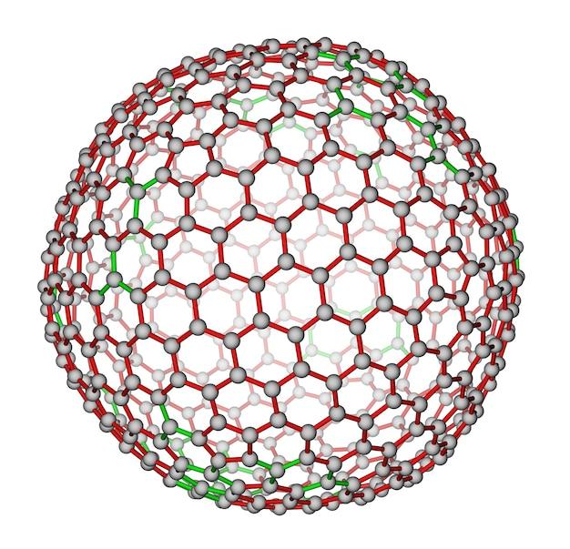 Structure moléculaire du fullerène c540 nanocluster sur fond blanc
