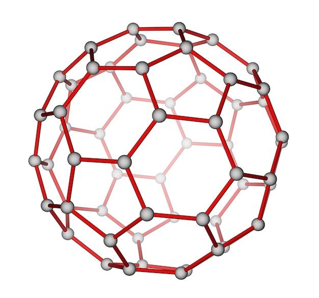 Structure moléculaire optimisée du fullerène c60 sur fond blanc