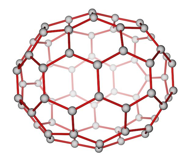 Structure moléculaire optimisée du fullerène c70 sur fond blanc