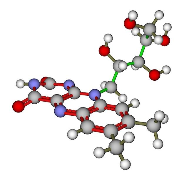 Structure moléculaire optimisée de la riboflavine (vitamine b2) sur fond blanc