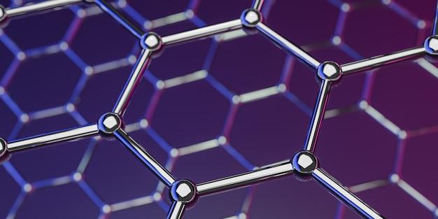Structure de la nanotechnologie moléculaire du graphène sur fond violet