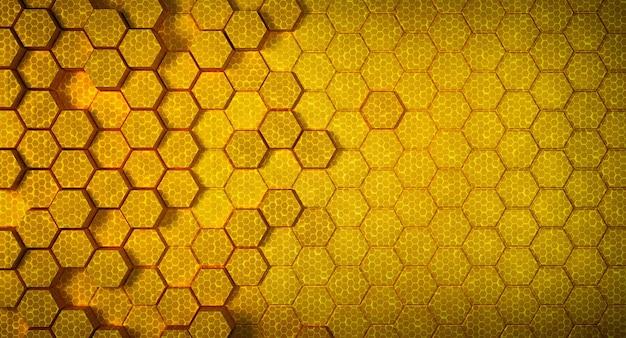 Structure en nid d'abeille jaune fond hexagone futuriste