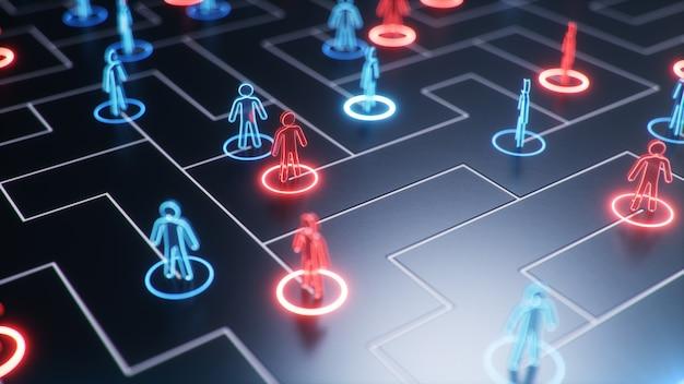 Structure de réseau entre les personnes, échange de données