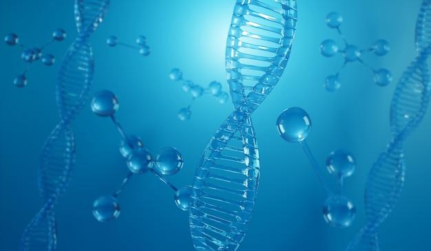 Structure en spirale de l'adn. science médicale, biotechnologie génétique, biologie chimique, formation scientifique, illustration 3d.
