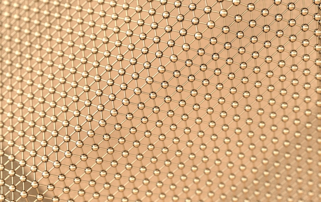 Structure web abstraite de lignes et de sphères dorées