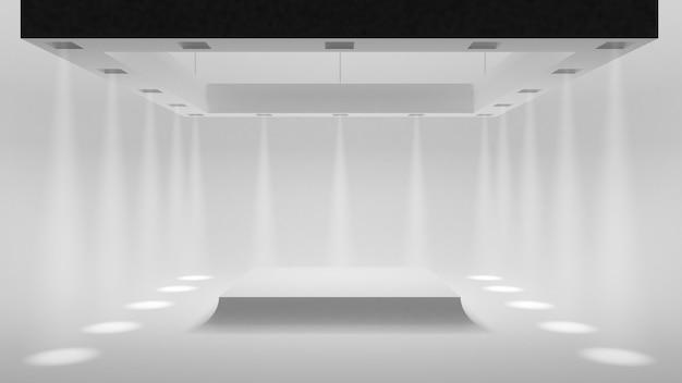 Studio blanc vide avec des projecteurs sur les bords et une douce lumière douce au centre.