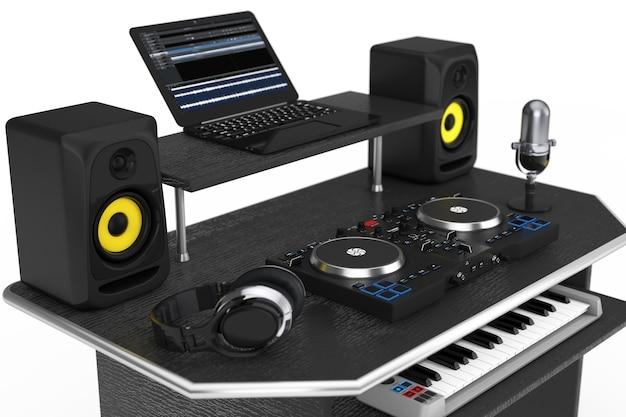 Studio d'enregistrement de musique moderne avec équipement électronique et instruments sur fond blanc. rendu 3d