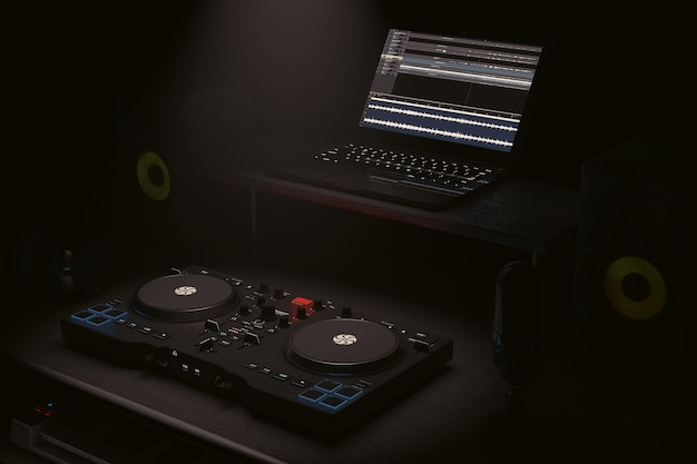 Studio d'enregistrement de musique moderne avec équipement électronique et instruments en gros plan extrême de lumière dramatique. rendu 3d