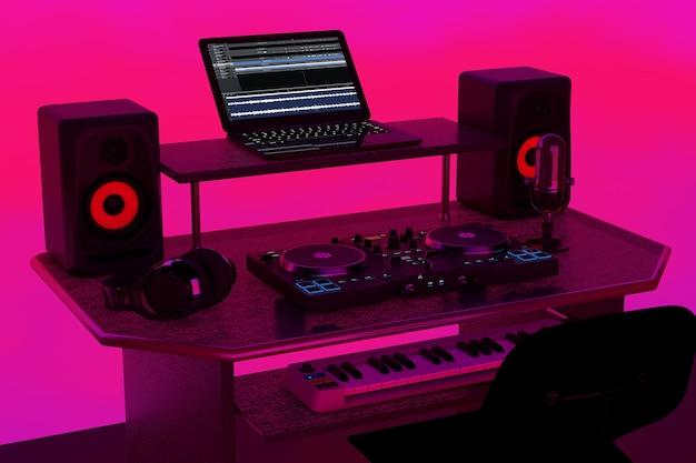 Studio d'enregistrement de musique moderne, lieu de travail dj avec équipement électronique et instruments sur fond rose abstrait. rendu 3d