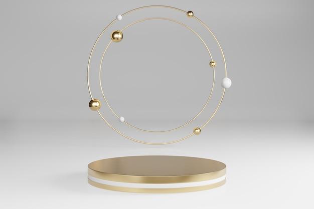 Studio de maquette avec des formes cylindriques en marbre, podium, plates-formes pour la présentation des produits, avec décoration d'objets en or sur fond gris. rendu 3d