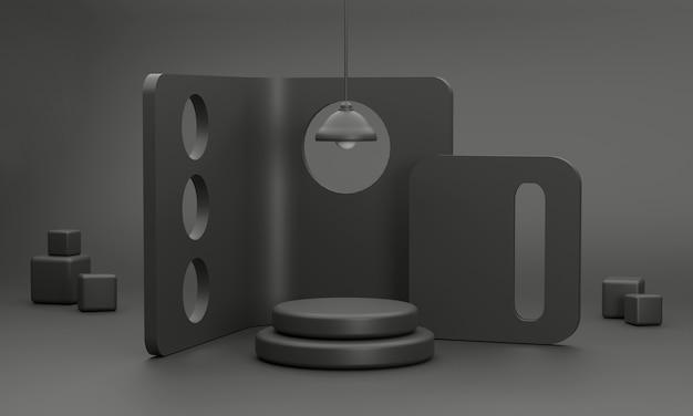 Studio minimal 3d avec cloison perforée de luxe noire et un podium circulaire pour l'affichage