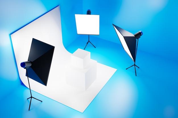 Studio photo isométrique 3d avec équipement de studio