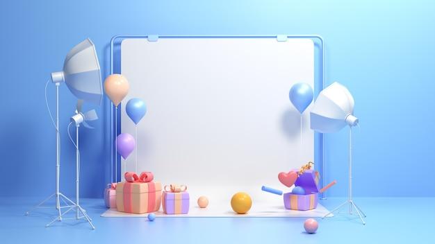 Studio de photographie 3d avec coffrets cadeaux et ballons. toile de fond blanc blanc studio photo avec lumière softbox. illustration de rendu 3d