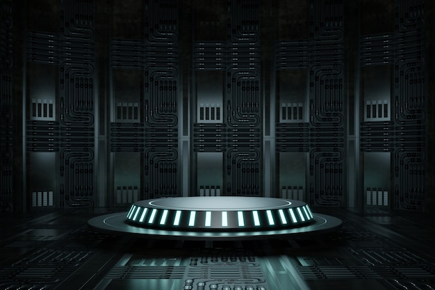 Studio de plate-forme de podium de produit de haute technologie dans un vaisseau spatial avec fil électrique