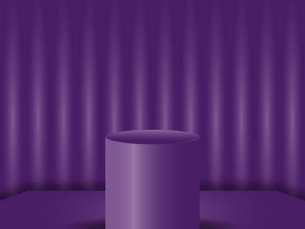 Studio de podium vide rendu vectoriel 3d fond de velours pour les produits concept de publicité moderne