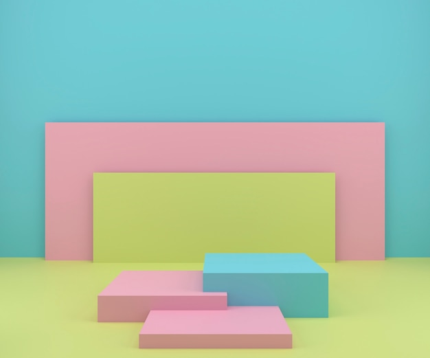Studio de rendu 3d avec des formes géométriques, podium sur le sol. plateformes de présentation des produits