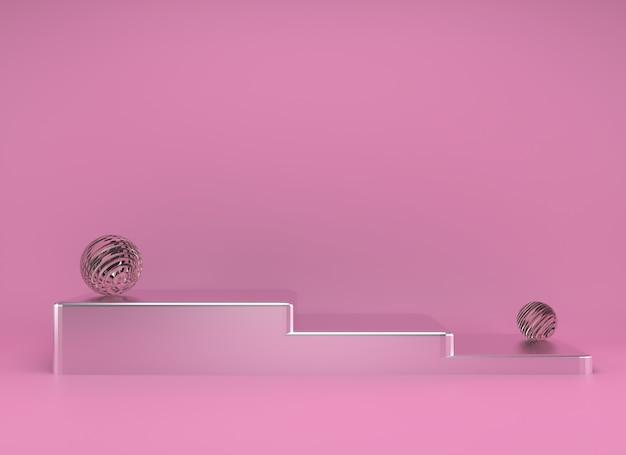 Studio de rendu 3d avec des formes géométriques, podium sur le sol