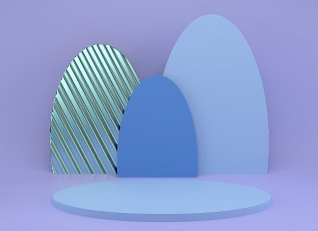 Studio de rendu 3d avec des formes géométriques, podium sur le sol.