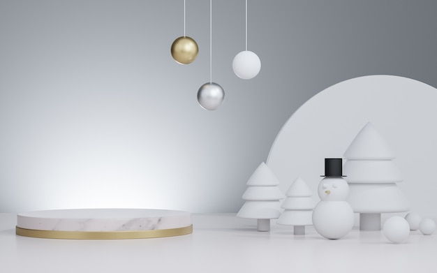 Studio rendu 3d maquette fond de noël pour la présentation du produit, avec arbre de noël et bonhomme de neige et décoration
