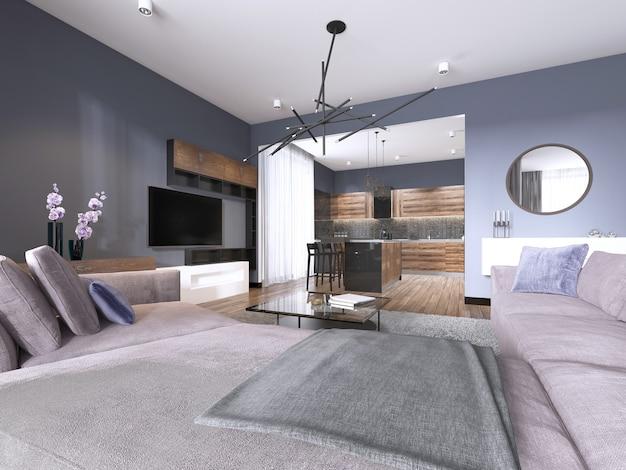 Studio séjour avec canapé en tissu et rangement tv et cuisine avec console au mur. rendu 3d