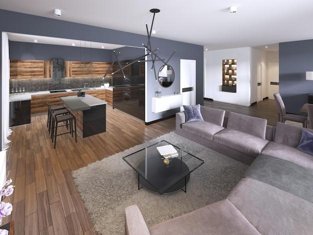 Studio avec séjour ouvert, kitchenette et coin repas. rendu 3d
