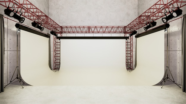Studio - studio de cinéma moderne avec écran blanc. rendu 3d