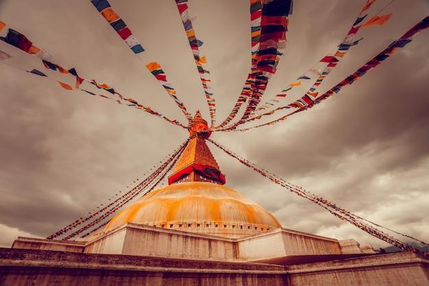 Stupa bodhnath dans la vallée de kathmandu, népal
