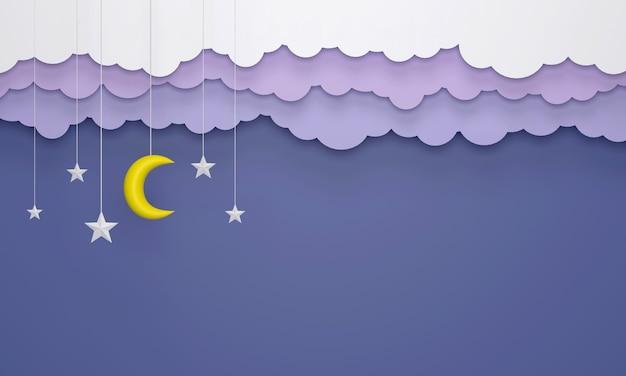 Style d'art en papier, nuages suspendus, étoiles et lune dans le rendu 3d de la conception du ciel bleu.