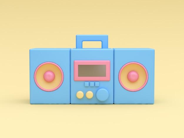 Style de bande dessinée de lecteur de radio-musique bleu 3d sur jaune
