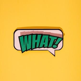 Style de bande dessinée quel texte d'expression de dessin animé sur fond jaune