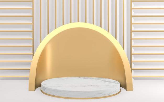 Style blanc or, podium géométrique minimal. rendu 3d