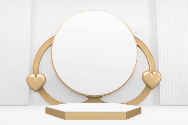 Style blanc de podium hexagonal en marbre blanc de luxe. rendu 3d