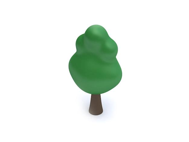 Style de dessin animé arbre 3d poly faible vert rendu 3d