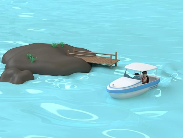 Style de dessin animé de bateau de vitesse bleu blanc 3d de l'eau bleue de la mer rendu 3d