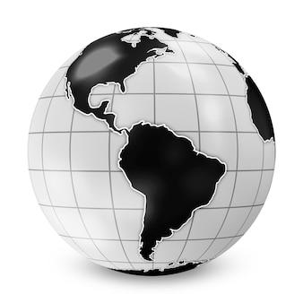 Style de globe terrestre noir sur blanc