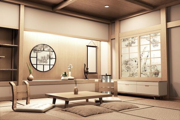 Style japonais ryokan sur chambre en bois très beau design. rendu 3d