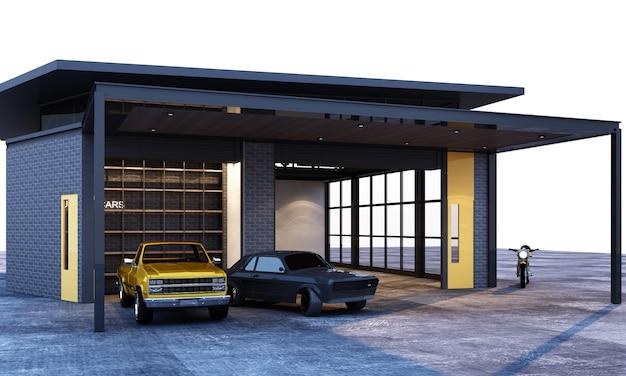 Style loft industriel de garage extérieur et intérieur avec rendu 3d de voitures