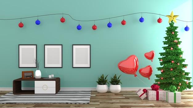 Style de noël, intérieur de chambre à la menthe, style moderne. rendu 3d