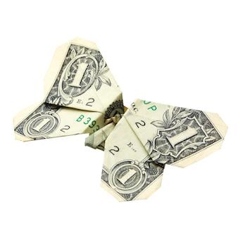 Style origami plié dollar dans un papillon isolé