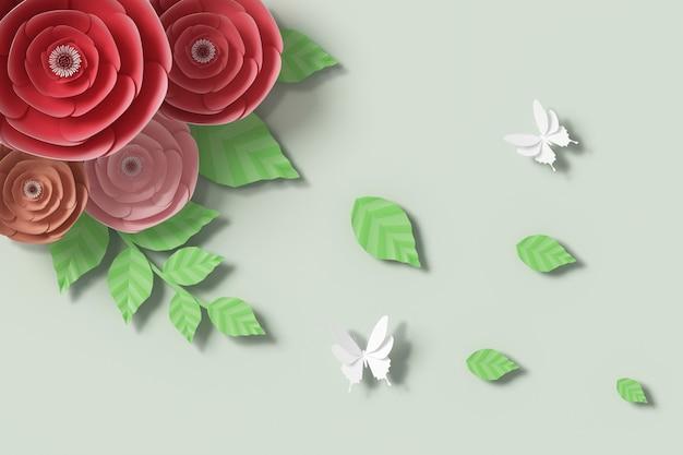 Style de papier fleur, rendu 3d