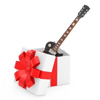 Style rétro belle guitare électrique noire dans une boîte-cadeau avec ruban rouge et archet sur fond blanc. rendu 3d
