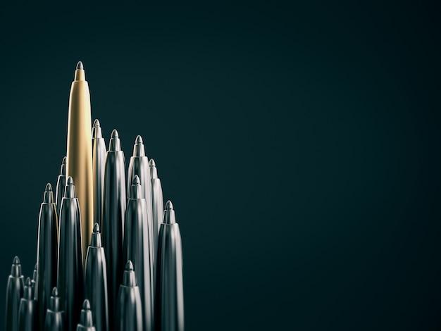 Stylo d'or se démarquant des stylos chromés, se démarquant du concept de la foule. rendu 3d
