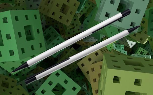 Stylos 3d blanc et noir sur fond de cubes