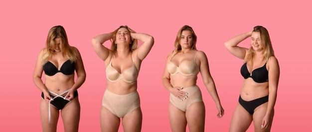 Succès, diversité, beauté, corps positif et concept de personnes. collage.