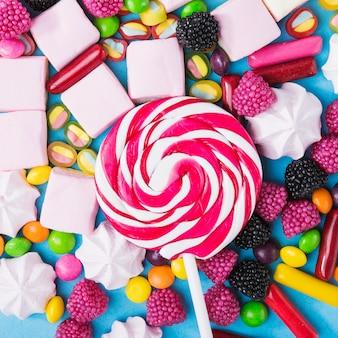 Sucette close-up sur les bonbons