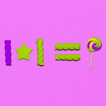 Sucette et guimauves. art flatlay d'humeur de bonbons sucrés
