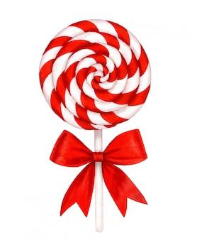 Sucette à rayures blanches et rouges et noeud rouge