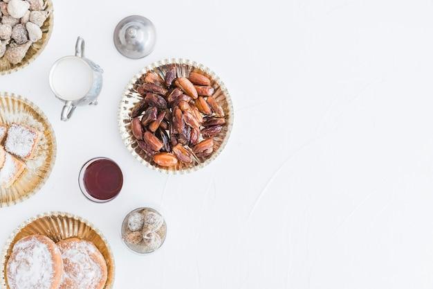 Sucreries et service à thé sur blanc